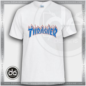 Buy Tshirt Thrasher Skate Blue Fire Tshirt Womens Tshirt Mens Size S-3XL