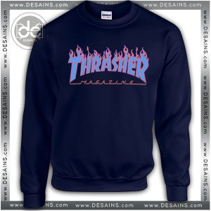Buy Sweatshirt Thrasher Fire Blue Sweater Womens and Sweater Mens