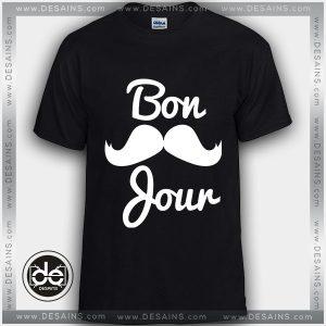 Buy Tshirt Bonjour Mustache Tshirt Womens Tshirt Mens Tees Size S-3XL