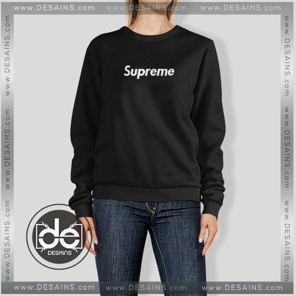 49d7085f2fc0 Sweatshirt Black Supreme Logo Sweater Womens Mens