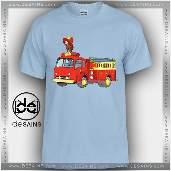Cheap Graphic Tee Shirts Curious George Firefighters Tshirt Kids and Adult