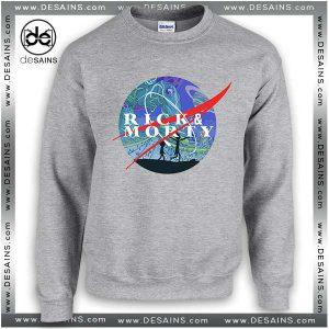 Cheap Graphic Sweatshirt Rick and Morty Nasa Logo Crewneck