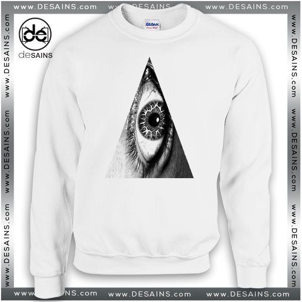 Cheap Graphic Sweatshirt Triangle Eye Hipster Indie Illuminati Symbol