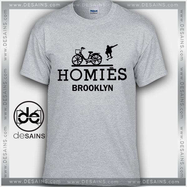 Attractive Cheap Graphic Tee Shirts Homies Brooklyn Logo Hermes Parody RF69