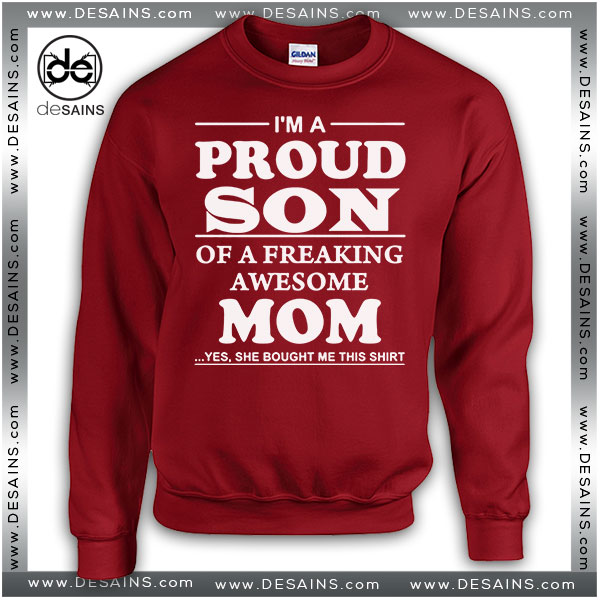 Cheap Ugly Christmas Sweater Proud Son Of A Freaking Awesome Mom