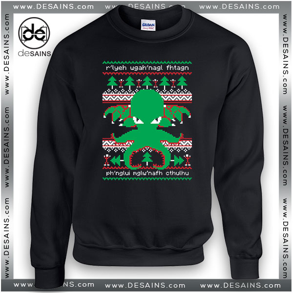 Cheap Graphic Sweatshirt Cthulhu Cultist Ugly Christmas Sweater