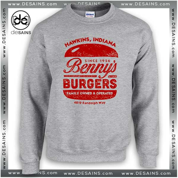 Cheap Graphic Sweatshirt Stranger Things Bennys Burgers Hawkins