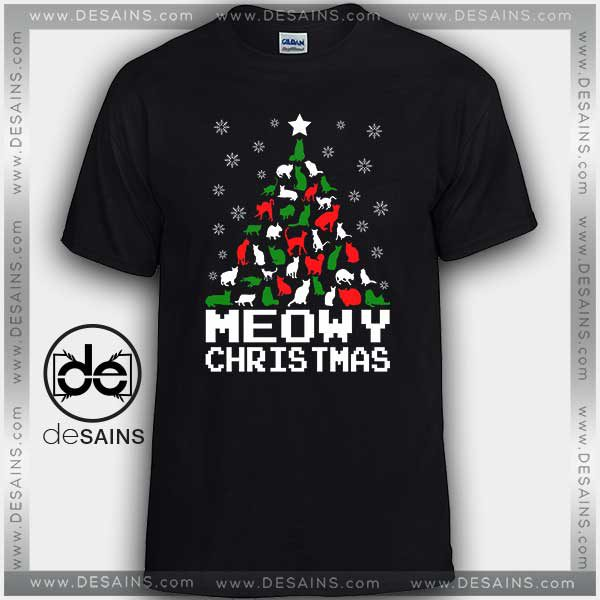 6c5f1c91e Cheap Graphic Tee Shirts Meowy Christmas Cat Tshirt Size S-3XL