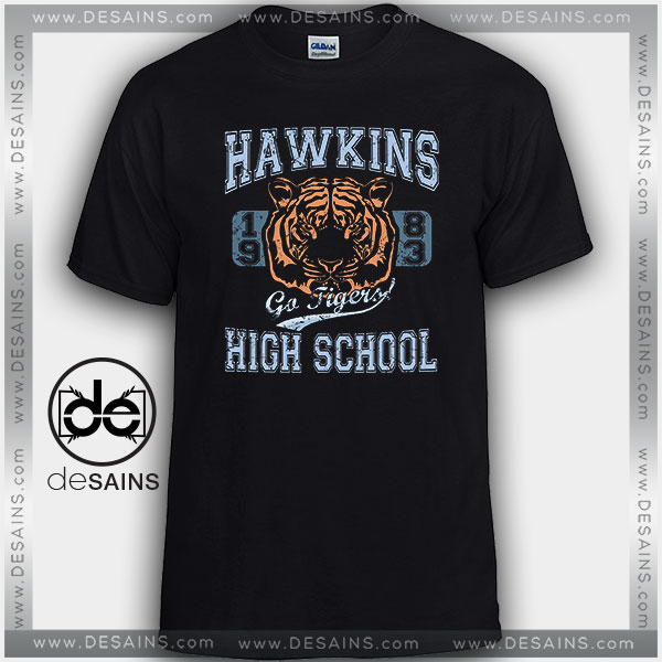 Cheap Graphic Tee Shirts Stranger Things Hawkins High School Tigers