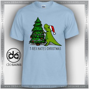 Cheap Graphic Tee Shirts T Rex Hates Christmas Funny Tshirt