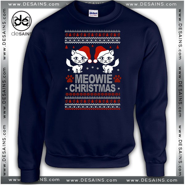 Cheap Graphic Ugly Sweatshirt Meowie Christmas Sweater Size S-3XL