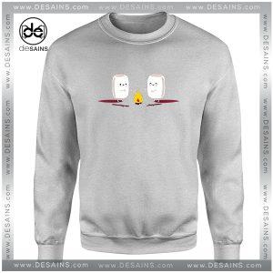 Cheap Graphic Sweatshirt Camping Cute Marshmallows