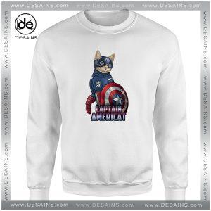 Cheap Graphic Sweatshirt Catvengers Cat Captain America
