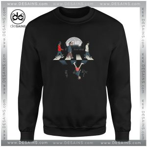 Cheap Graphic Sweatshirt Stranger Things Upside Down Abbey Road