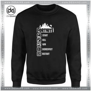Cheap Graphic Sweatshirt Fortnite Start Kill Win Disrespect Restart Size S-3XL