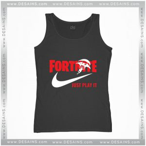 Cheap Graphic Tank Top Fortnite Just play it Just Do it logo Size S-3XL