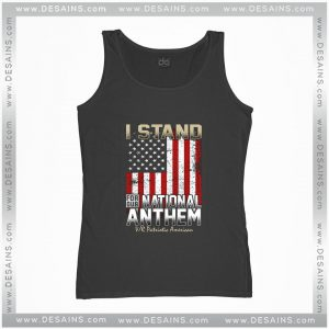 Cheap Graphic Tank Top I Stand for Our National Anthem with America Flag