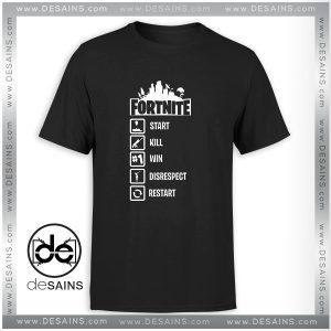 Cheap Graphic Tee Shirt Fortnite Start Kill Win Disrespect Restart Size S-3XL