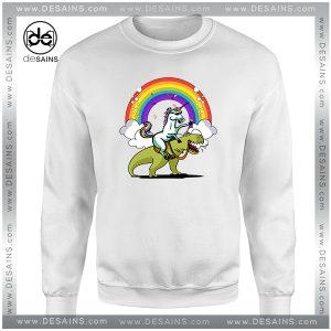 Cheap Graphic Sweatshirt Unicorn Riding TRex Party Dinosaur Colorful Rainbow