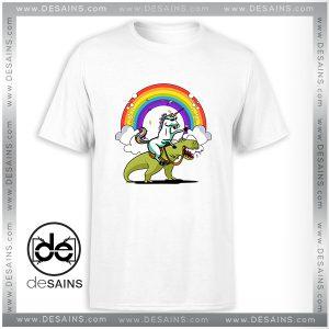 Cheap Graphic Tee Shirt Unicorn Riding TRex Party Dinosaur Colorful Rainbow