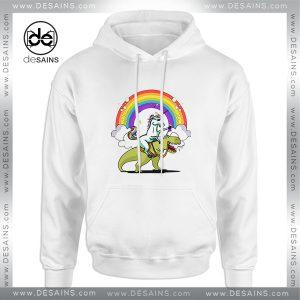 Cheap Hoodie Unicorn Riding TRex Party Dinosaur Colorful Rainbow Size 3XL
