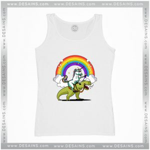 Cheap Tank Top Unicorn Riding TRex Party Dinosaur Colorful Rainbow