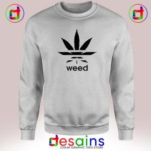 Cheap Sweatshirt Weed Plant Parody Adidas Logo Crewneck Size S-3XL