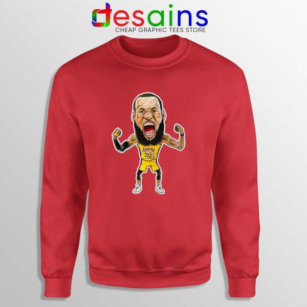 Best Lakers James Sweatshirt LeBron James Crewneck Size S-3XL RED