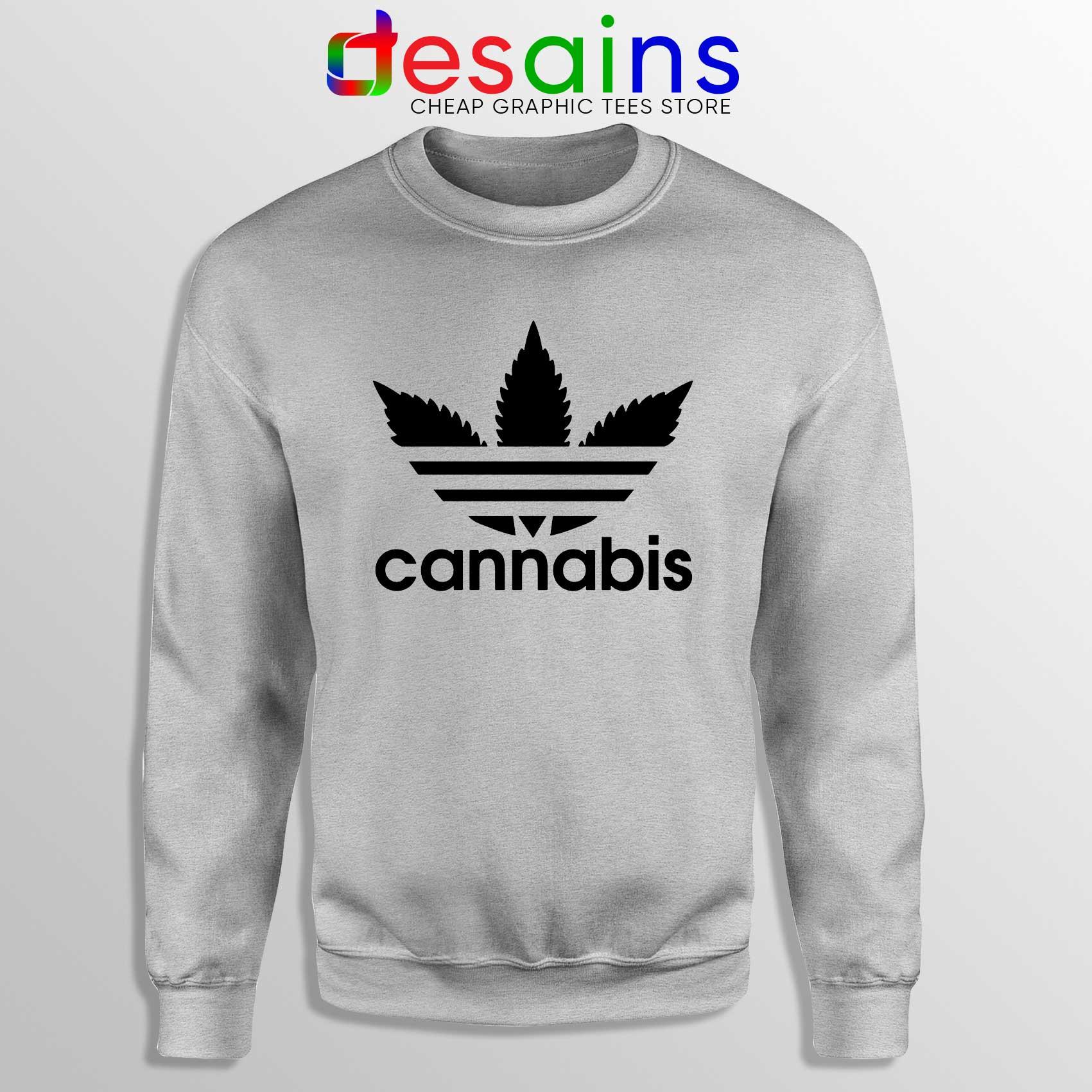Buy Sweatshirt Cannabis Leaf Adidas Crewneck Funny Adidas Size S 3XL