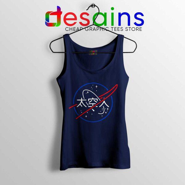 Buy Tank Top Logo NASA Aesthetic Japanese Navy Blue Tanks
