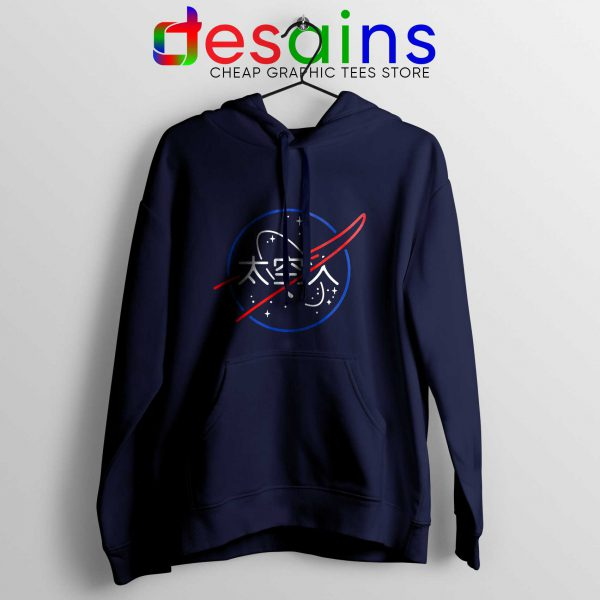 Cheap Hoodie Logo NASA Aesthetic Japanese Hoodies Navy Blue