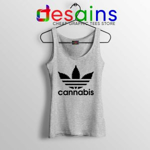 Cheap Tank Top Cannabis Leaf Adidas Funny Parody S-3XL