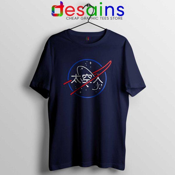 NASA Aesthetic Japanese Tee Shirt Cheap Tshirt Navy Blue