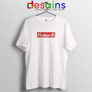 33948307c24e Supreme Flat Earth Tee Shirt Funny Logo Supreme Parody White Tshirt