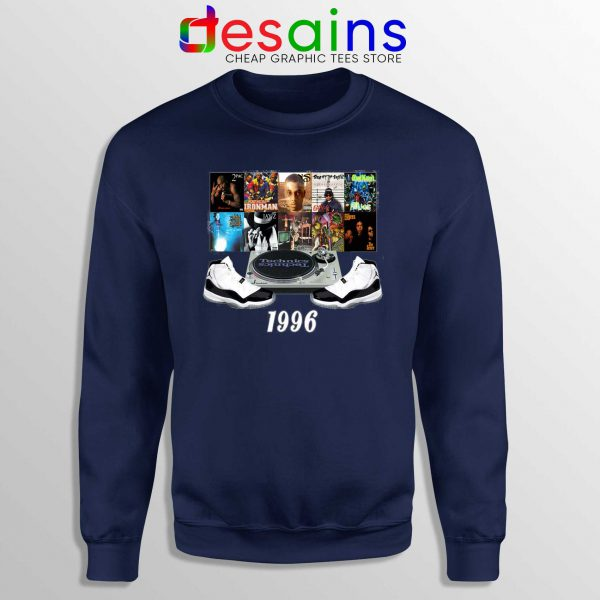 Sweatshirt 1996 Hip Hop Jordans Crewneck Navy Blue