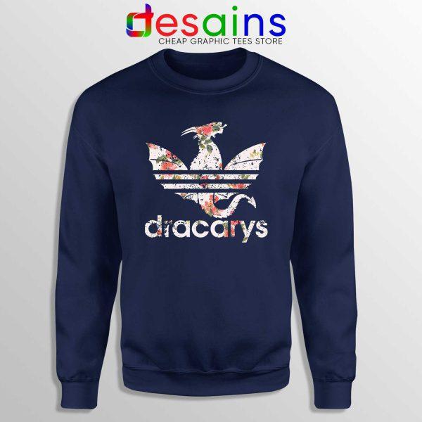 Cheap Sweatshirt Dracarys Dragon Flowers Sweater Navy Three Stripes