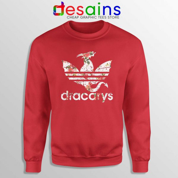 Cheap Sweatshirt Dracarys Dragon Flowers Sweater Red Three Stripes