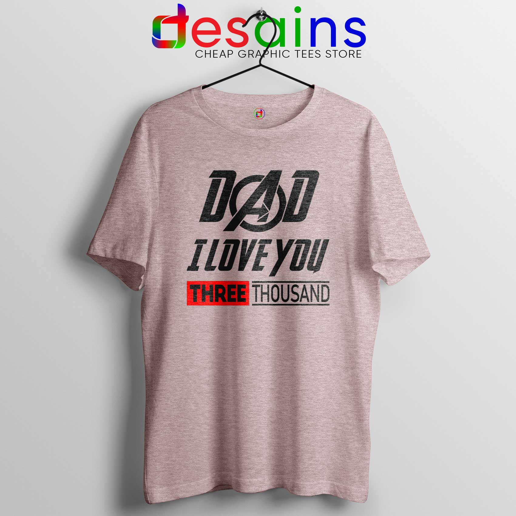 88f7210c Dad I Love You 3000 Tee Shirt Sport Grey Iron Man Avengers Endgame
