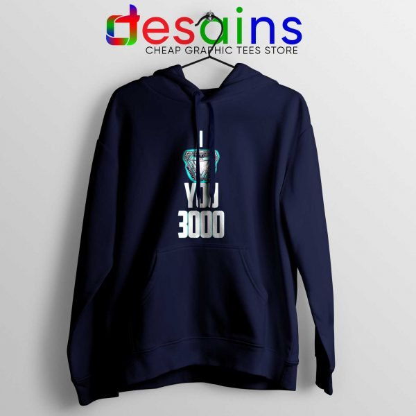 I Love You 3000 Hoodie Navy Blue Iron Man Avengers Endgame Quotes