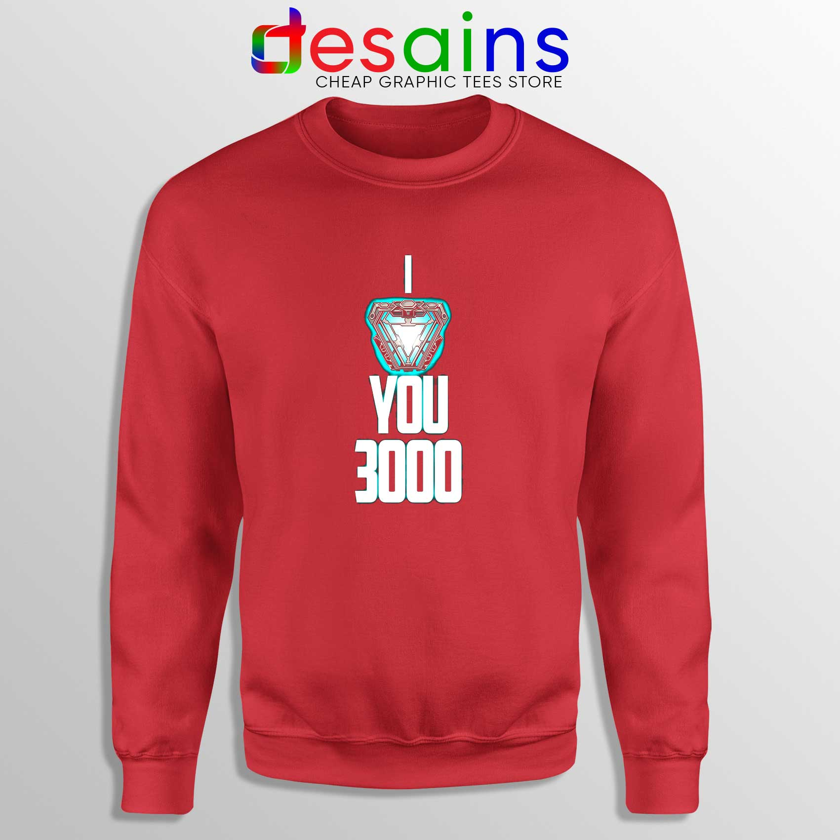 0f1709c1 I Love You 3000 Iron Man Sweatshirt Red Marvel Clothing Online Shop