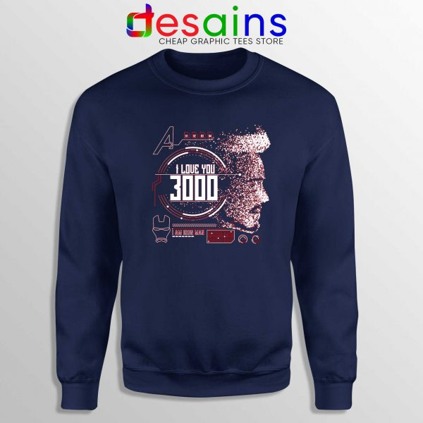 Sweatshirt Tony Stark I Love You 3000 Crewneck Sweater Navy Blue