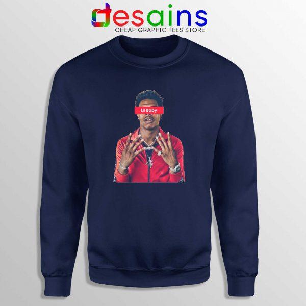 Buy Sweatshirt Navy Blue Lil Baby Supreme American Rapper