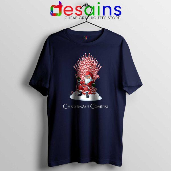 Tshirt Navy Blue Christmas Is Coming Santa Tee Shirt Game of Thrones