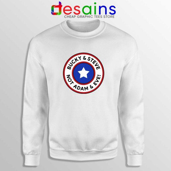 Cheap Sweatshirt White Bucky and Steve Not Adam and Eve Captain America
