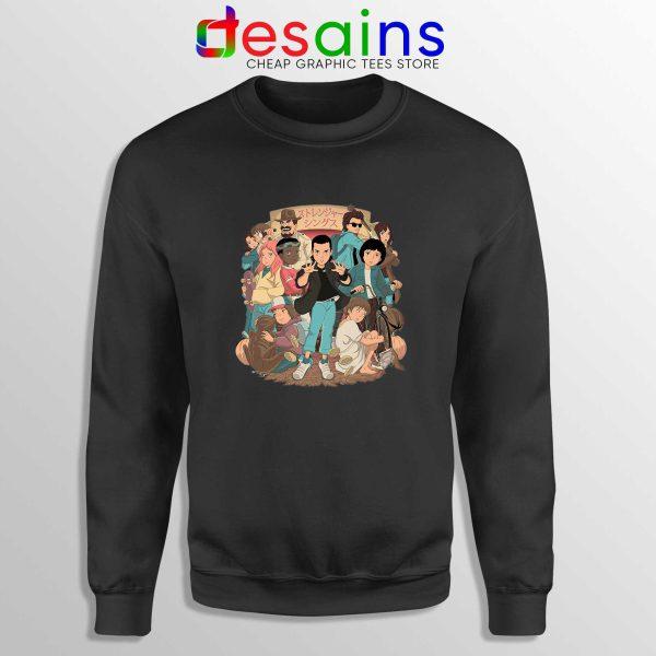 Stranger Things 3 Anime Poster Black Sweatshirt Netflix Merch Sweater