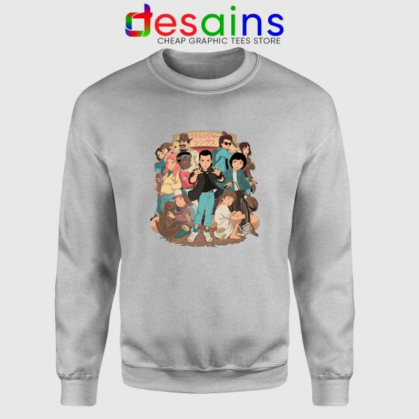 Stranger Things 3 Anime Poster Sport Grey Sweatshirt Netflix Merch Sweater