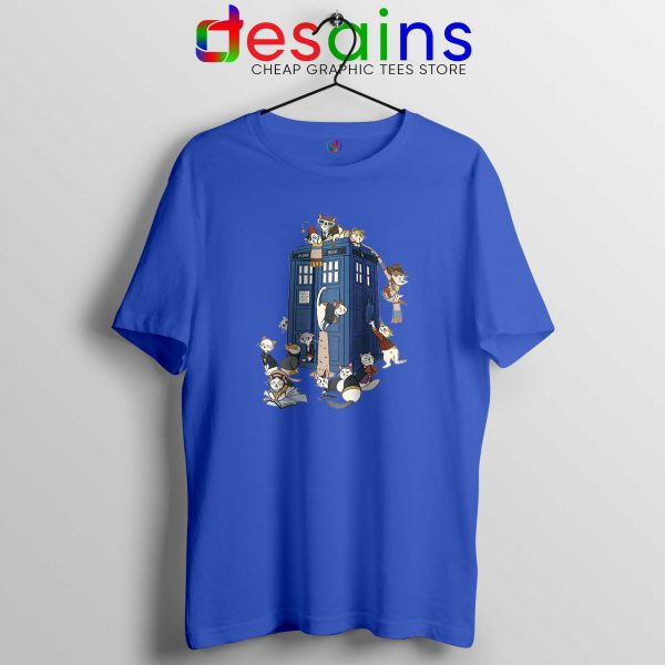 Doctor Mew Blue Tshirt Funny Doctor Who Cats Tardis Cheap Tee Shirts