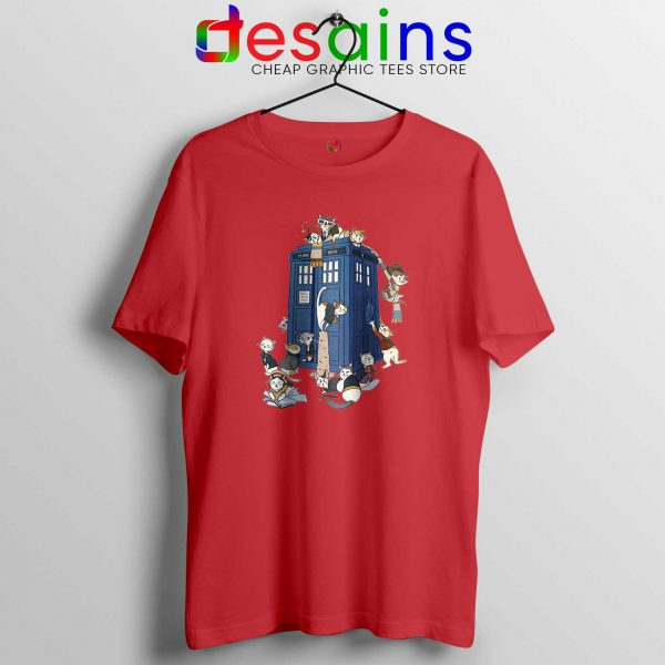 Doctor Mew Red Tshirt Funny Doctor Who Cats Tardis Cheap Tee Shirts