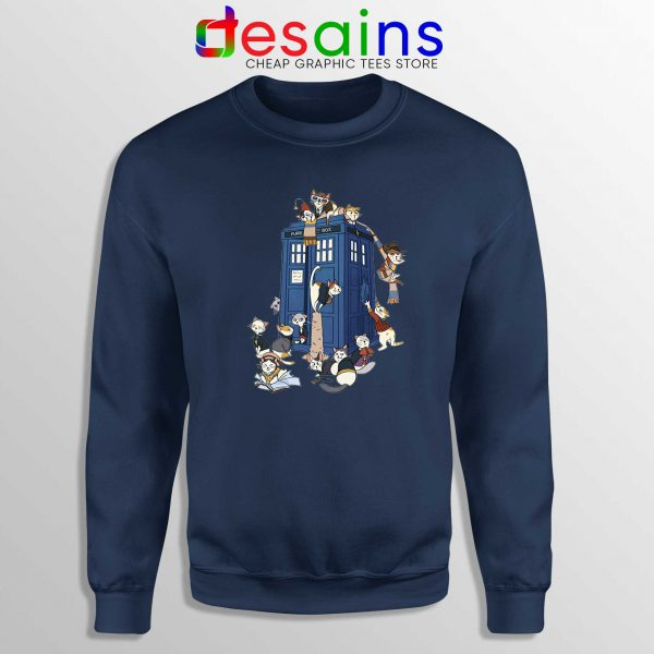 Doctor Who Cats Tardis Navy Sweatshirt Doctor Mew Crewneck Sweater