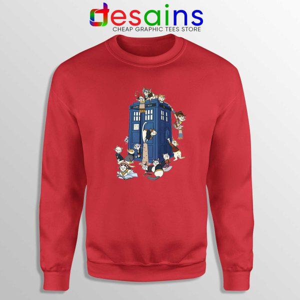 Doctor Who Cats Tardis Red Sweatshirt Doctor Mew Crewneck Sweater